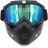 Ubelly Motorcycle Goggles With Detachable Mask,Airsoft Safety Goggles Mask UV400 Protection,Cool Helmet Glasses