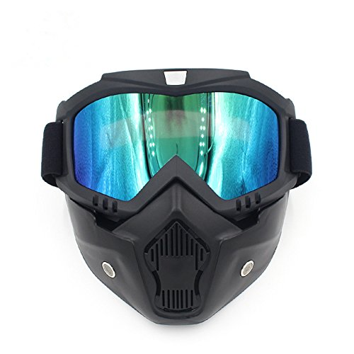 Ubelly Motorcycle Goggles with Detachable Mask, Motocross Riding Cycling Motorbike ATV Dirt Bike Racing Off Road Cosplay Goggle Glasses,Adjustable Non-Slip Strap Retro Harley Helmet Goggles ()