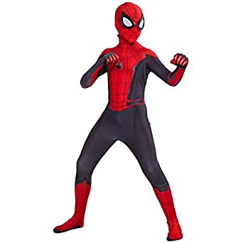 2019 New Children's boys costume Spider-Man:far from home Peter Parker Cosplay Costume Spiderman pattern Body Bodysuits (3XL)