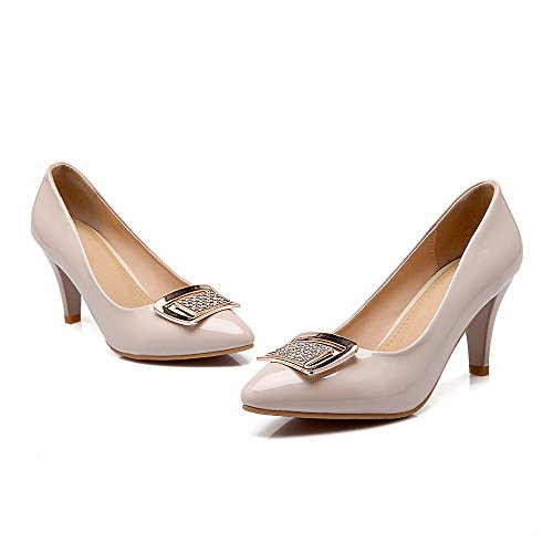 AmoonyFashion Womens Pull On Pointed Closed Toe High Heels Patent Leather Solid Pumps-Shoes Apricot lll3l