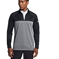 NIKE Mens Therma Core Golf Half Zip Shirt Black/Heather/White 854498-010 Size X-Large
