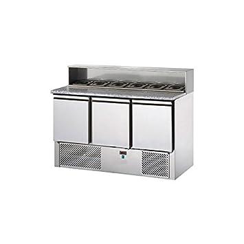 D.o.m. – Saladette refrigerata 3 puertas, tablero de granito, soporte de acero con 8