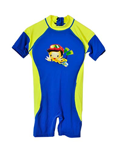 Kids Float Swimsuit, Baby Boys Girls Float Suit Swimsuit Toddler Kids One Piece Buoyancy Swimwear (Size 8, Dark Blue-Green Side)