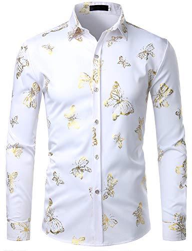 ZEROYAA Mens Hipster 3D Golden Butterfly Printed Slim Fit Long Sleeve Button Down Dress Shirts ZZCL21 White ()