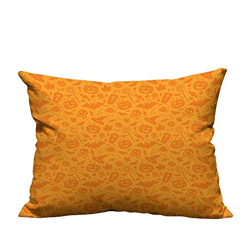 (YouXianHome Pillowcase with Zipper Traditi al Halloween Themed Objects Celebrati Day Orange Ultra Soft & Hypoallergenic (Double-Sided Printing) 26x26)