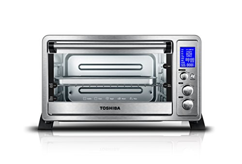 Toshiba AC25CEW-SS Digital Oven with Convection/Toast/Bake/Broil Function, 6-Slice Bread/12-Inch Pizza, Stainless - Oven Convection Rotisserie
