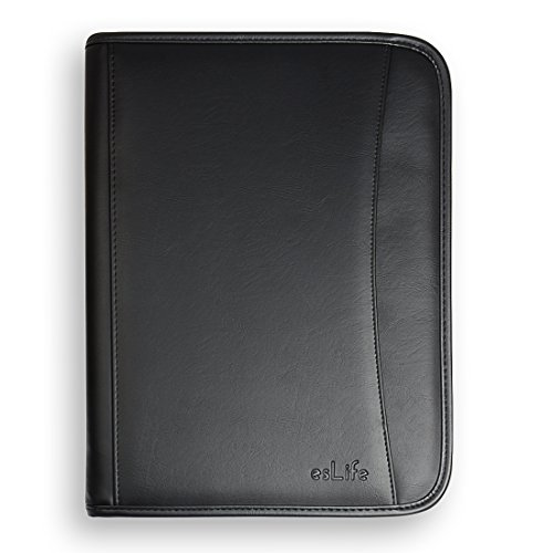 esLife Padfolio Portfolio PU Lether with Letter Size Writing Pad, Professional Interview Resume Portfolio and Business Card Holder by esLife