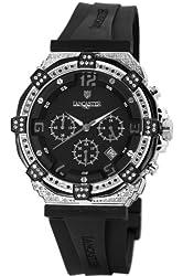 Lancaster Women's OLA0441L/SS/NR/NR Robusto Diamonds Chronograph Black Dial Rubber Watch