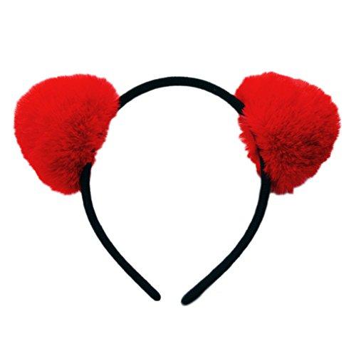 BUYITNOW Girls Fur Ball Headband Fluffy Panda Ears Hairhoop for Halloween Cosplay