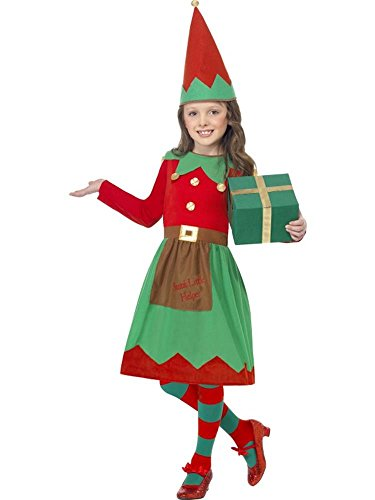 [Girls Santa's Little Helper Costume, Size Small Age 4-6, Christmas Elf Fancy Dress] (Childrens Santas Helper Costume)