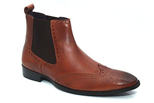 Gucinari G0828T - Bottines à enfiler en cuir - style Richelieu - homme - Brun clair