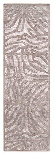 - CC Home Furnishings 2.5' x 8' Burchelli Zebra Chain Taupe Wool Area Throw Rug
