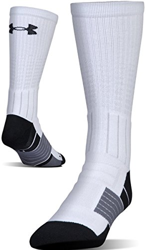 Under Armour Adult Unrivaled Crew Socks, 1-Pair, White/Black, Shoe Size 8-12, Womens 9-12