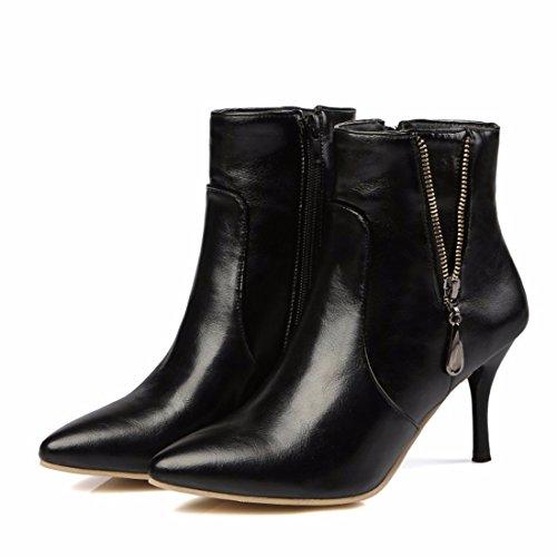 black barril americano fino fino de bajo cortas y metal grandes europeo TALÓN mujeres botas TALÓN altos decoración astilleros Tacones vIwxStUI