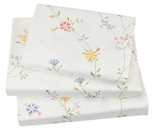J-pinno Cute Vine & Flowers Twin Sheet Set for Kids Girl Children,100% Cotton, Flat Sheet + Fitted Sheet + Pillowcase Bedding Set (flower4) (Cotton Sheet Print Bed)