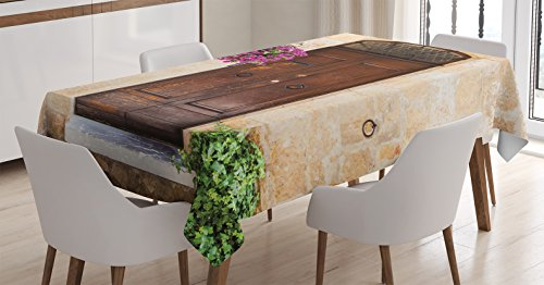 Tuscan Furniture Kitchen (Ambesonne Tuscan Decor Tablecloth, Image of Rusty Wood Door with Flowers in Italian Town Authentic Nostalgic Building, Rectangular Table Cover for Dining Room Kitchen, 60x84 Inch, Cream Lilac Brown)