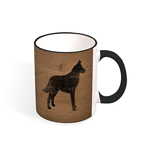 Belgian Malinois Silhouette(s) Two Tone Mug, 11 oz, Black/White