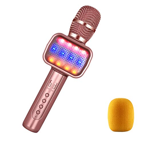MOSOTECH 2019 Upgraded 4-in-1 Karaoke Microphone for Kids, Dynamic LED Light, Built-in Speaker, Portable Player, Song Recorder, Voice Changer, Wireless Karaoke Mic for Home/Stage/Party