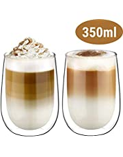 Glastal Double Wall Cappuccino Latte Macchiato Espresso Glasses Cups Coffee Tea Milk Juice Glass Cups 120-350ml Set of 2