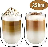 Glastal Doppelwandige Latte Macchiato Espressotassen Espresso Glaser Set Thermoglas Kaffeeglas Trinkgläser 2-teiliges...
