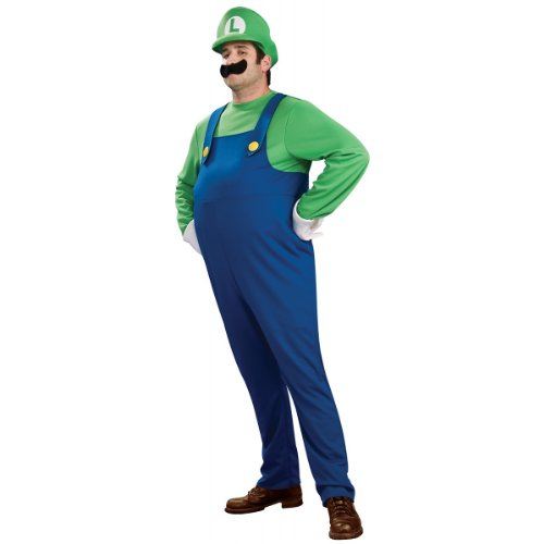 Super Mario Brothers Deluxe Luigi Costume, Blue/Green, (Deluxe Adult Luigi Costumes)