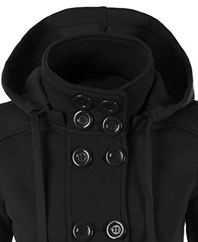 Capucha Paño Mujer de Abrigo Clásico de CeRui Para Negro Chaqueta con wYqRC