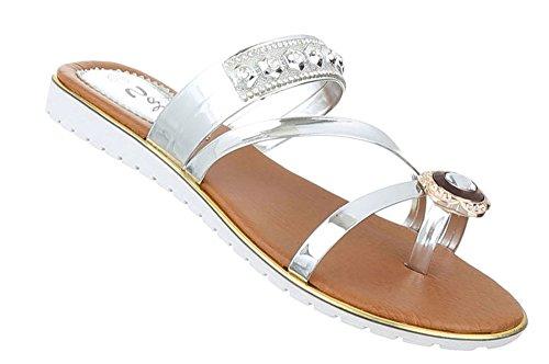 Damen Sandalen Schuhe Zehentrenner Sandaletten Gold Schwarz Silber 37 38 39 40 41 42