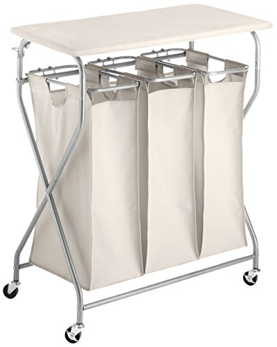 Whitmor Easy-Lift Triple Sorter with Folding Table by Whitmor