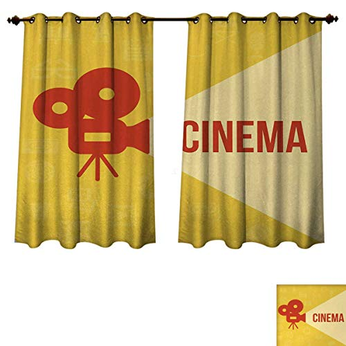 (Anzhouqux Movie Theater Blackout Thermal Backed Curtains for Living Room Projector Silhouette with Cinema Quote Movie Symbols Background Customized Curtains Dark Coral Beige Yellow W55 x L39 inch)