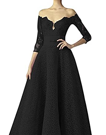 King's Love Illusion Neckline Backless Lace Prom Dresses With 3/4 Sleeves Sashes Bow Formal Evening Gowns Black US26W