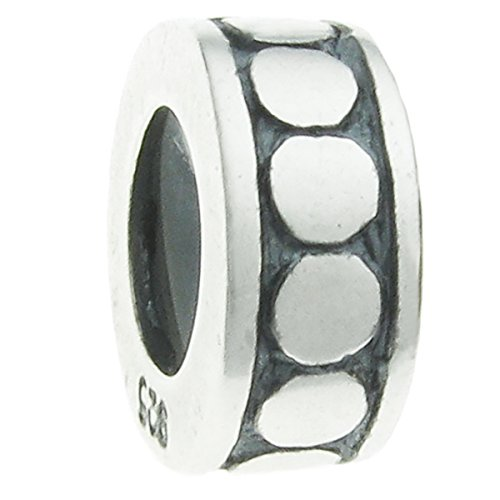 Sterling Silver Focal Round Dot Stopper with Rubber Bead for European Charm - Bead Focal Dot