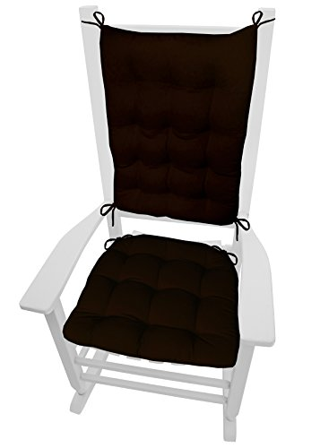Barnett Rocking Chair Cushions - Cotton Duck Brown - Size Extra-Large - Latex Foam Fill, Reversible, Machine Washable (Solid Color, Chocolate, - Tysons Stores Corner In