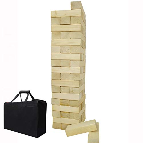 (Giant Wooden Toppling Tumbling Timbers Tower with Storage Bag Jumbo Huge Blocks Stacking Lawn Yard Games for Family Backyard Fun)