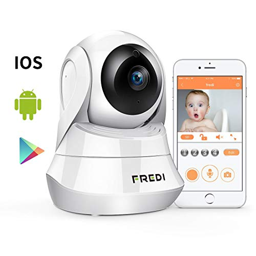 FREDI Wireless Security 1080P HD Camera WiFi IP Indoor Surveillance Camera Home Baby Pet Monitor Motion Detection 2-Way Audio Night Vision 180 Wide Angle Fisheye P2P Remote Viewing IR