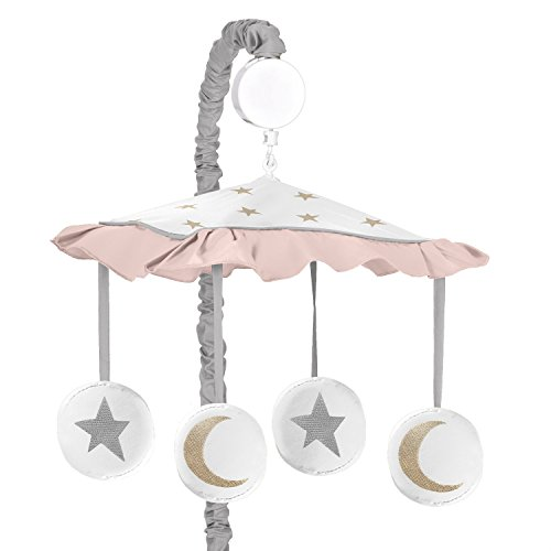 - Blush Pink, Gold, Grey and White Star and Moon Musical Baby Crib Mobile for Celestial Collection by Sweet Jojo Designs