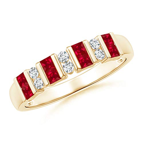 Vertically Channel Set Ruby and Diamond Half Eternity Band in 14K Yellow Gold (2mm Ruby) ()