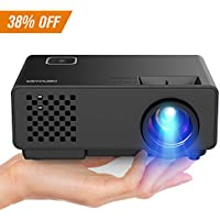 DBPOWER Projector - Mini Portable Video Projector 176 Display 50,000 Hours LED Full HD Projector 1080P 2018 Released, Compatible with HDMI VGA AV USB Amazon Fire TV Stick