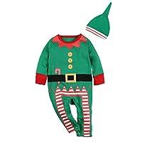 2 piezas de conjunto de traje de navidad para bebés niños niñas disfraz de duende divertido recién nacido mameluco (0-3 meses, verde)
