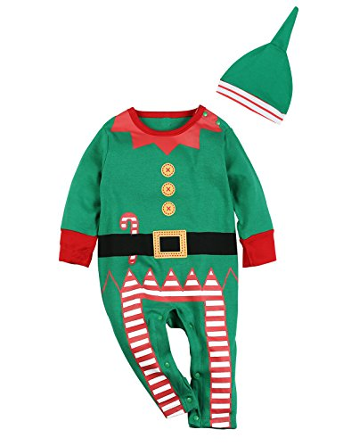 2PCS Christmas Outfit Set Baby Boys Girls Funny Elf Costume Newborn Romper (0-3 Months, Green)
