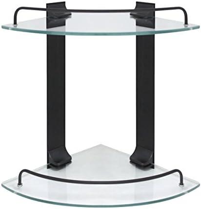 MODONA Double Corner Glass Shelf with Rail Rubbed Bronze – 5 Year Warrantee
