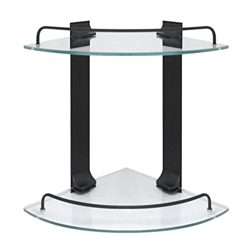 MODONA Double Corner Glass Shelf with Rail – Rubbed Bronze - 5 Year Warrantee