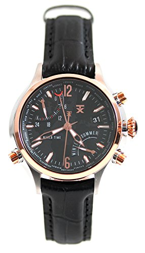 Timex TX Luxury Mens 500 Series World Time Two Tone SS Case Black Leather Watch T3C272