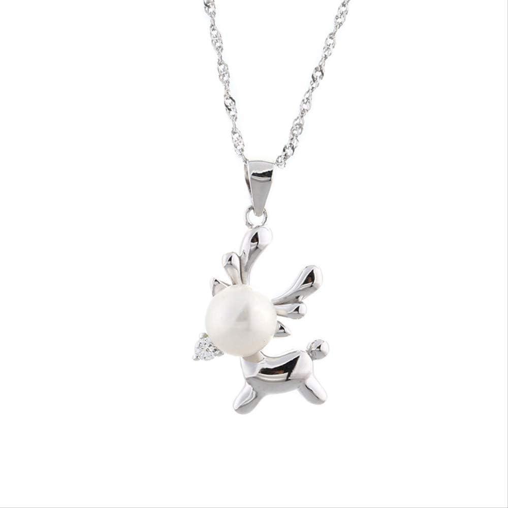 DODO.GOGO Un Ciervo Tiene su Perla Colgante Mujer 925 Plata Creativa pequeño Alce Collar Simple Collar de clavícula joyería joyería