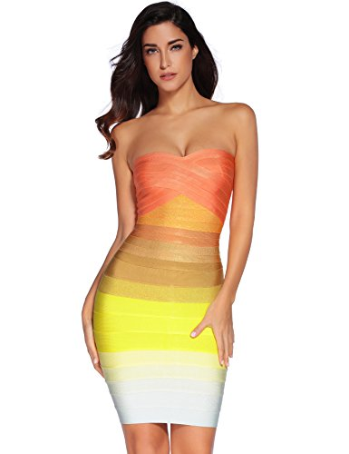Meilun Women Strapless Bandage Dress Bodycon Rainbow Party Dress(Large)