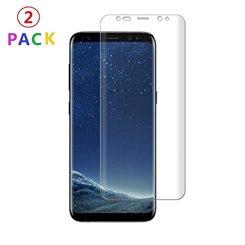Galaxy S8 [2 Pack] Screen Protector 3D Curved Tempered [Anti-Bubble][9H Hardness][HD Clear][Anti-Scratch][Case Friendly] Glass Screen Film Compatible Samsung Galaxy S8 Black