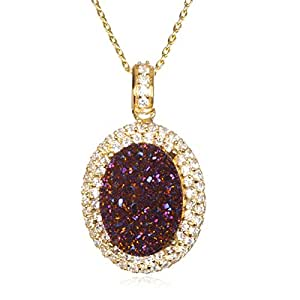 """Gold Plate Silver Purple Drusy Pendant with White Cz -18"""""""