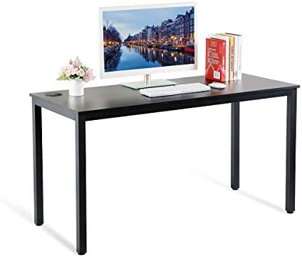 EUREKA ERGONOMIC 55 inch Simple Computer Desk for Home Office, Writing Table for Workstation, Black
