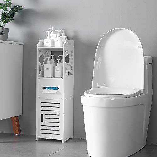 Luluman 4-Tier Bathroom Standing Shelf Storage Closet Organizer Free Standing Shelves Rack with 2 Doors Carved Stand Cabinet Home Decor   White
