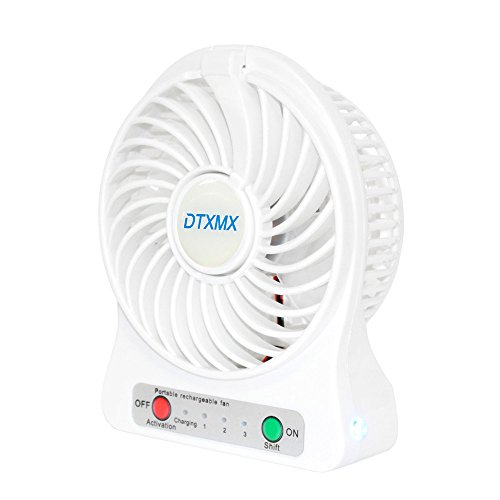 Mini Fan Portable USB, DTXMX Personal Desk DesktopTable Cooling Fan with USB Rechargeable Battery 2200Am LED Sensor Lights for Office Room Outdoor Household Traveling(3 (Summer White Fan)