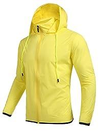 Men's Packable Raincoat, Outdoor Waterproof Lightweight Hooded Rain Jacket
